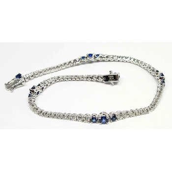 Sapphire and Diamond  Wave Line Bracelet