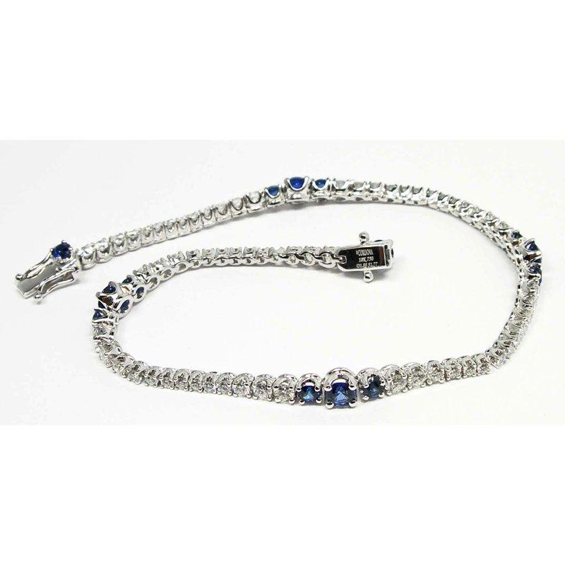 Sapphire and Diamond  Wave Line Bracelet