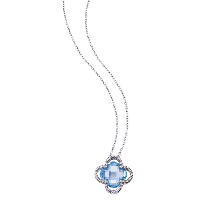 Blue Topaz Clover Pendant in Sterling