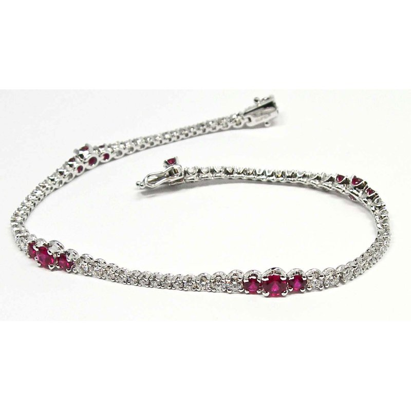 Ruby and Diamond Wave Line Bracelet