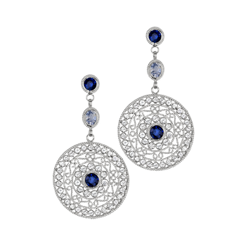 White & Blue Sapphire Medallion Drop Earrings
