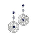 White & Blue Sapphire Medallion Drop Earrings