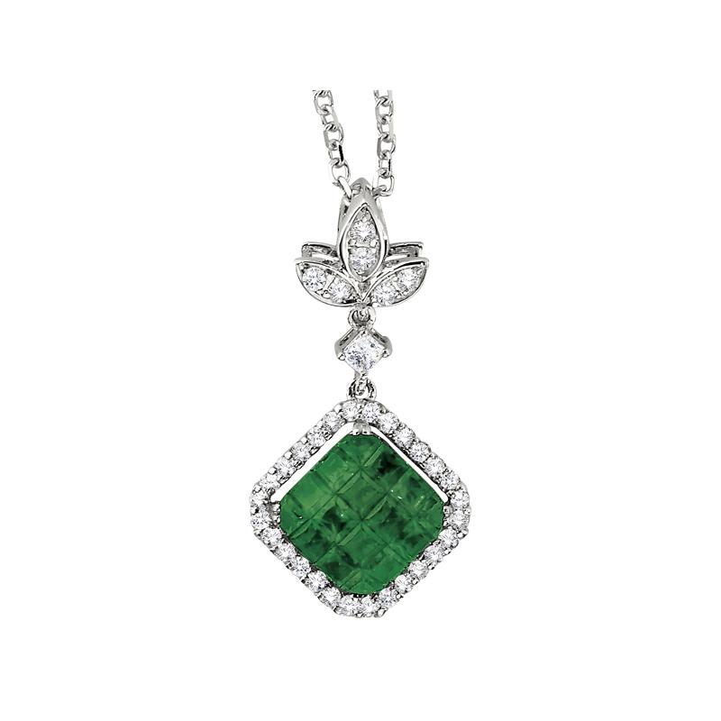 Invisibly Set Tsavorite and Diamond Pendant