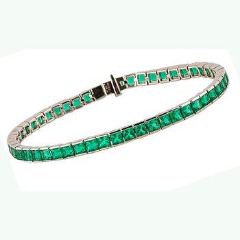 Eternity Natural Emerald Line Bracelet