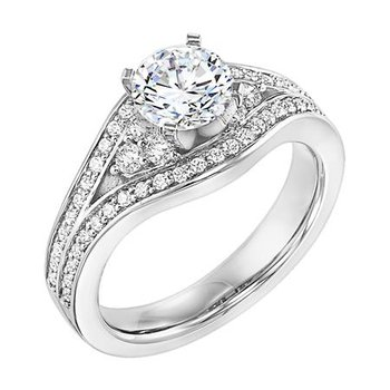 Split Shank Diamond Cluster Engagement Ring