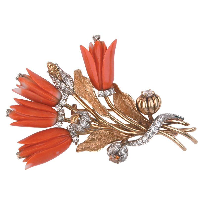 Carved Coral and Diamond Estate Brooch