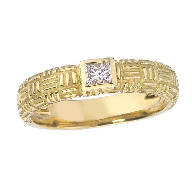 Gold Parquet Ring with Princess Cut Diamond