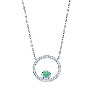 Diamond Circle Pendant set with Emerald