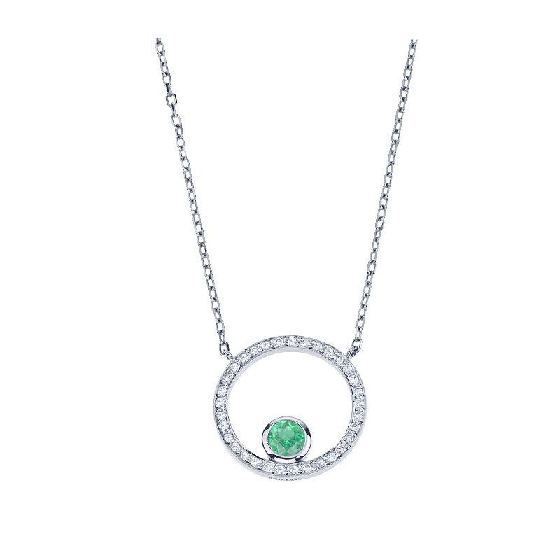 Diamond Circle Pendant set with Emerald
