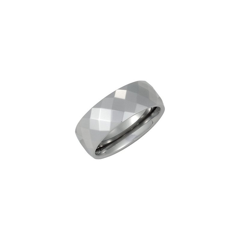 White Tungsten Faceted Band