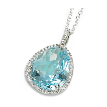 Candy Colors Blue Topaz  and Diamond Pendant