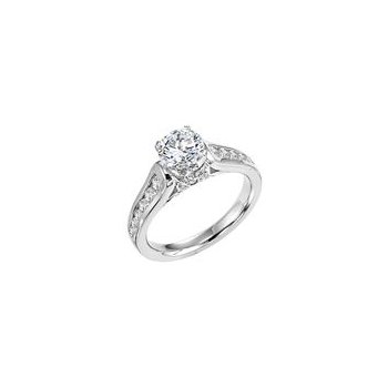 Diamond Engagement Ring with Diamond Shank
