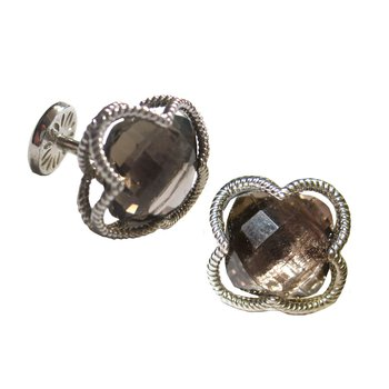 Smokey Quartz Clover Cuff Links