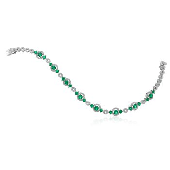 Emerald and Diamond Halo Bracelet