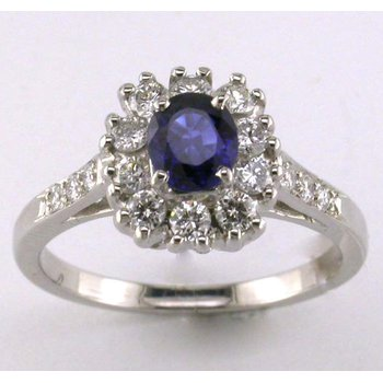 Diamond Halo Sapphire Ring
