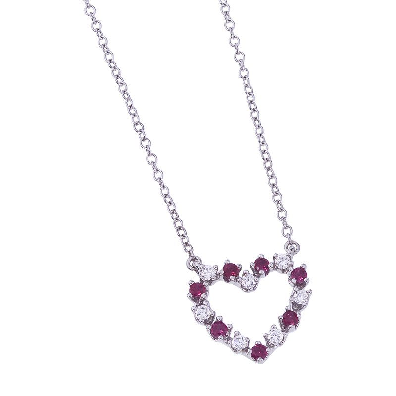 Ruby and Diamond Heart Pendant