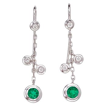 Hanging Emerald and Diamond Earrings