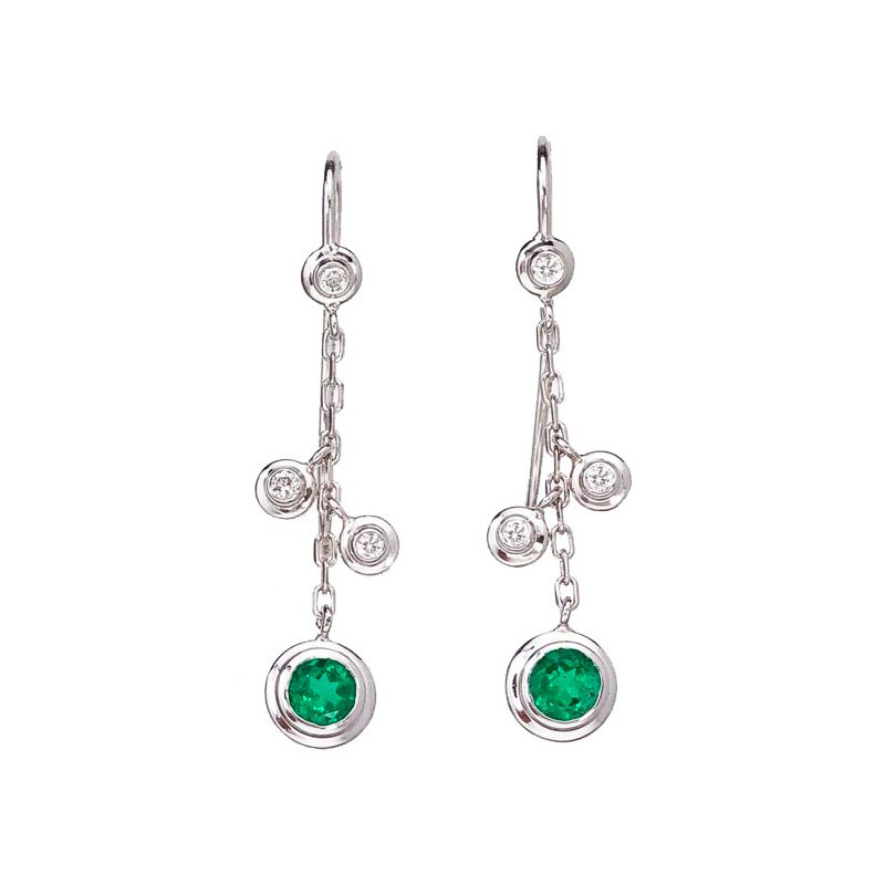 Hanging Emerald and Diamond Earrings