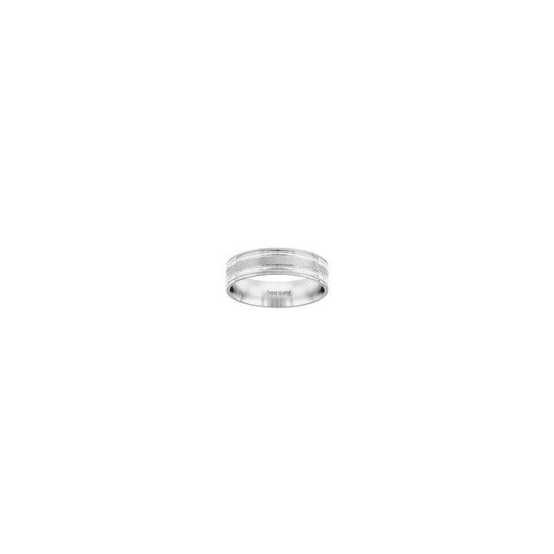 White Gold Wedding Band with Detail