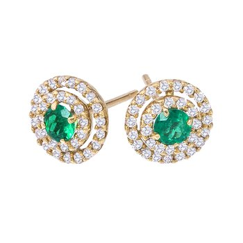 Eternity Emerald & Diamond Button Earring