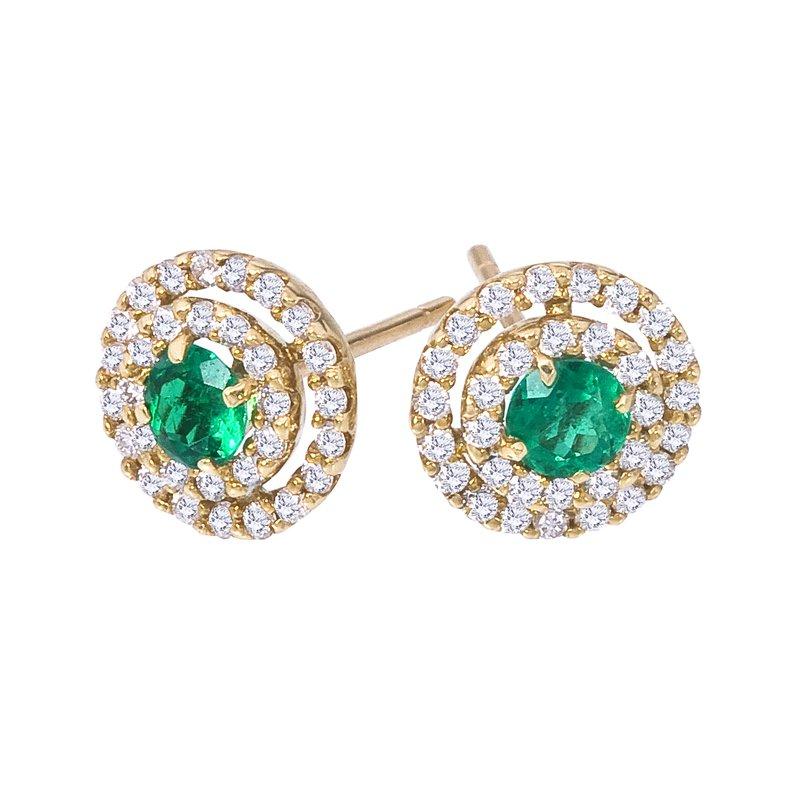 Eternity Emerald & Diamond Button Earring