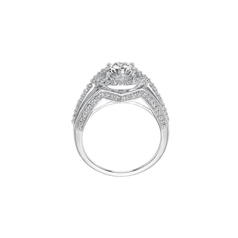 Triple Shank Diamond Engagement Ring