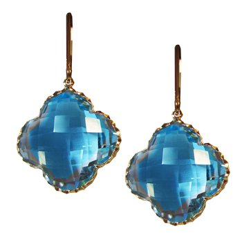 Blue Topaz Quatrefoil Drop Earrings