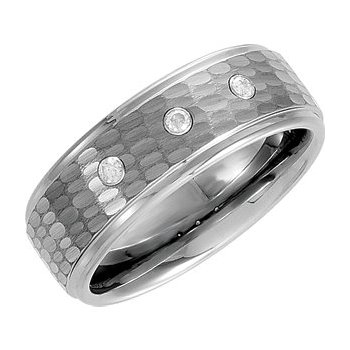 Tungsten Bark Finish Band with 3 Diamonds