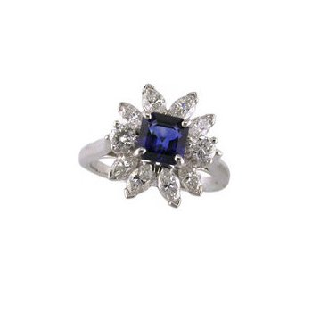 Sapphire and Diamond Starburst Ring