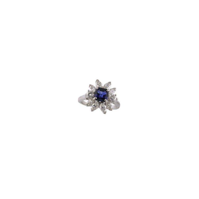 Sapphire and Diamond Starburst Ring