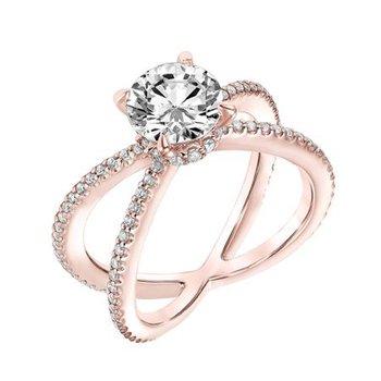 Diamond Prong Set Engagement Ring with Diamond Collar and X Shape Diamond Shank