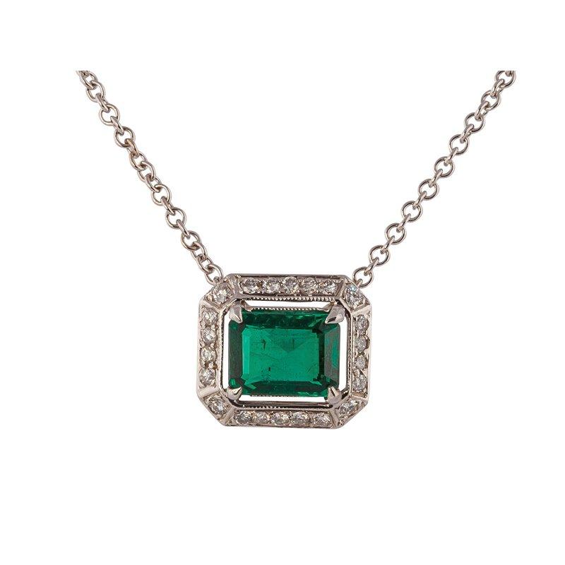Emerald Cut Emerald in Diamond Frame Neckalce