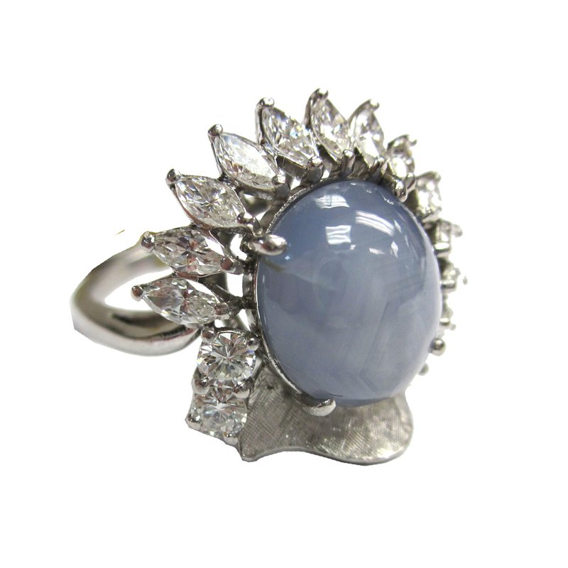 Star Sapphire and Diamond Marquise Ring