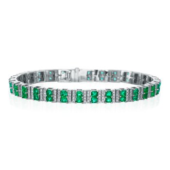 Princess Emerald and Diamond Bracelet