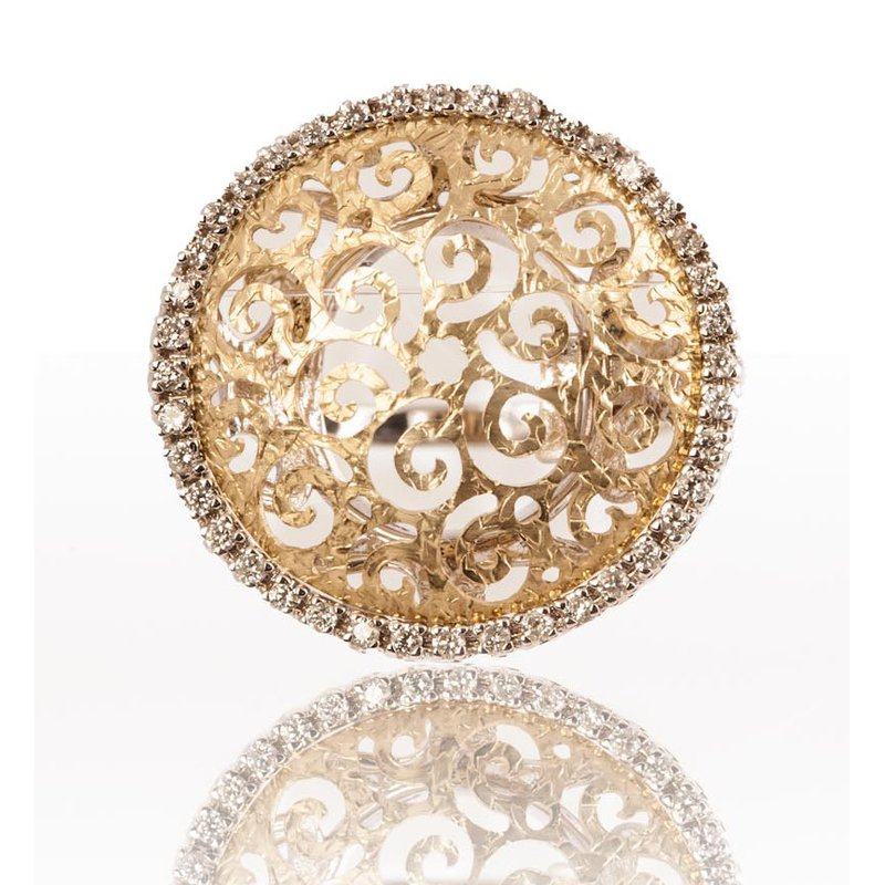 Gold and Diamond Statement Ring