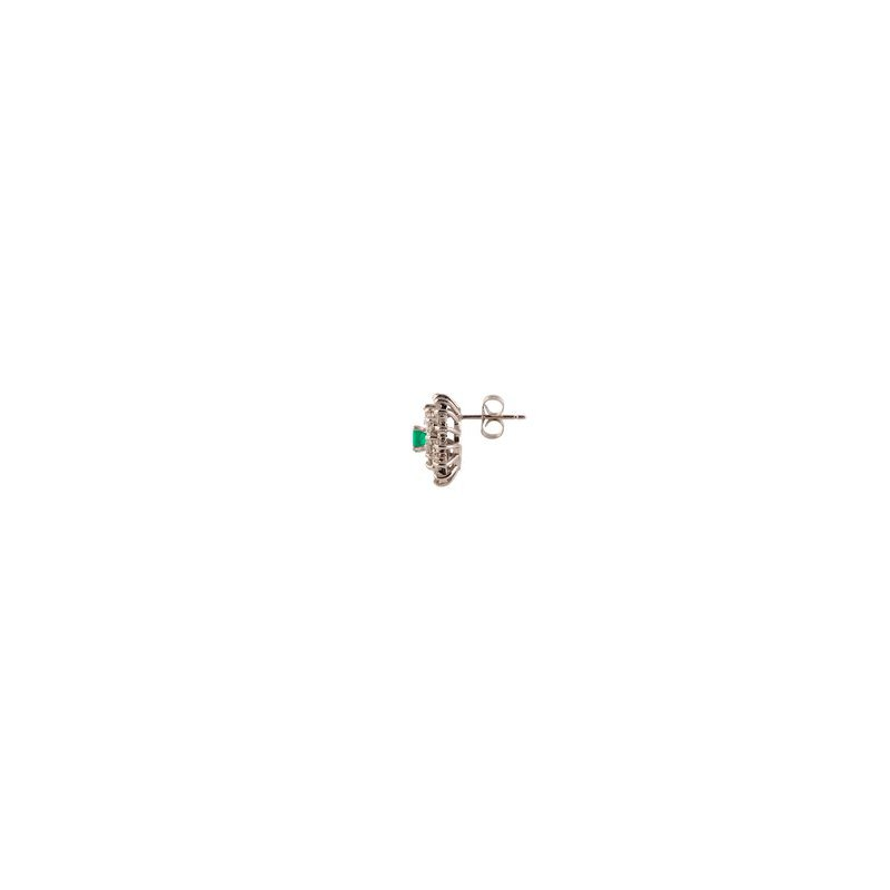 Emerald and Diamond Starbust Earrings