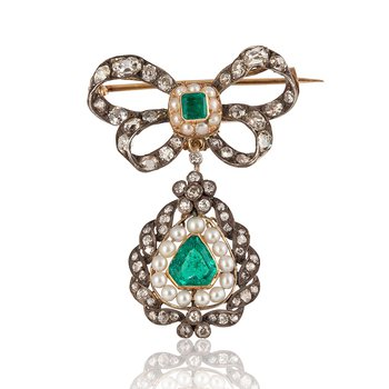 Georgian Emerald Bow Brooch