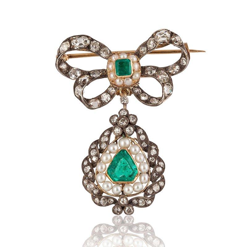 Georgian Emerald Bow Brooch