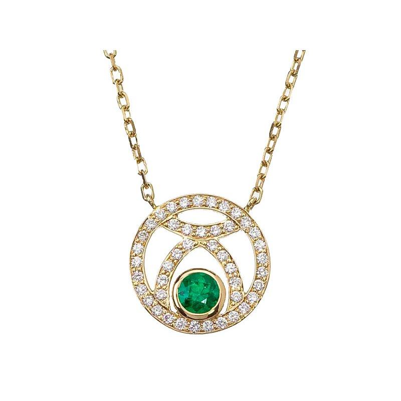 Emerald and Diamond Circle Pendant