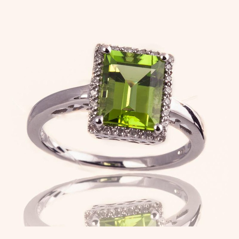 Peridot Halo Ring