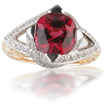 Two Tone Pink Tourmaline and Diamond Ring