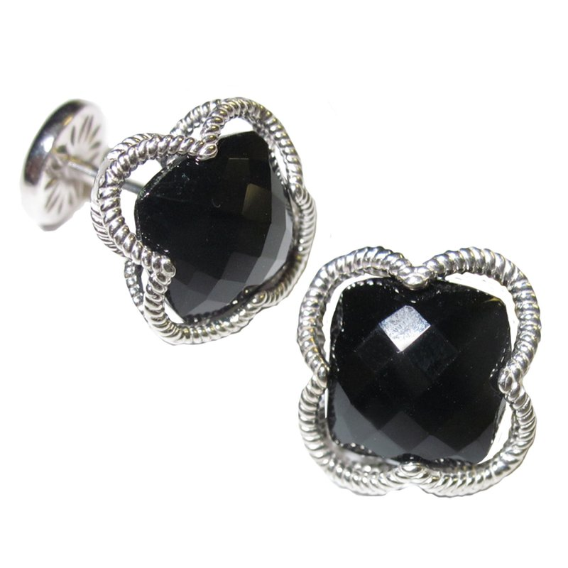 Onyx Clover Sterling Cuff Links