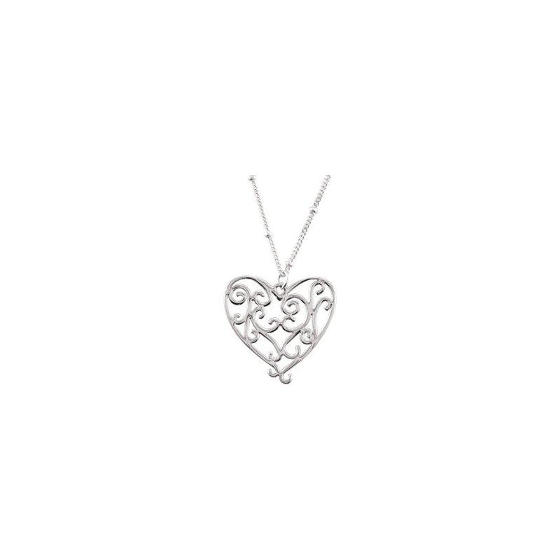 Sterling Swirl Heart Pendant