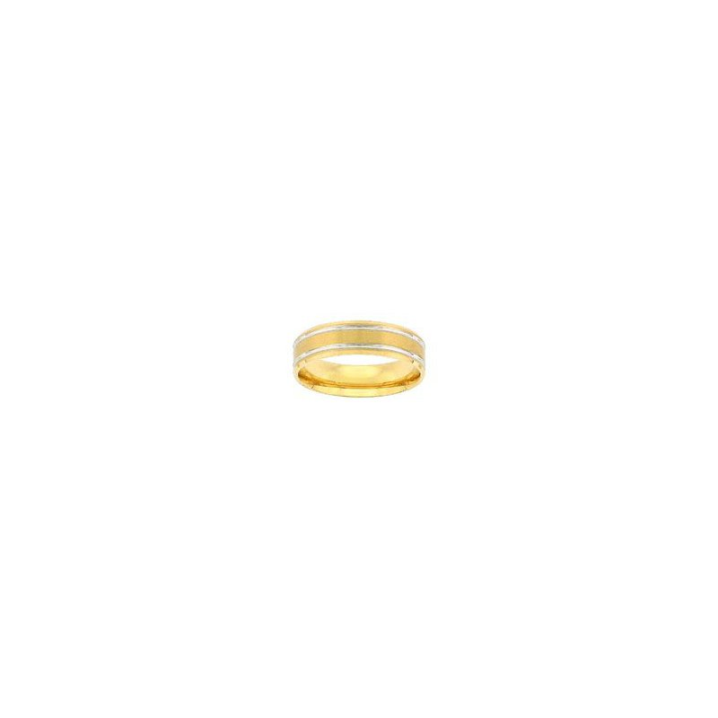 Yellow Gold Wedding Band with White Gold Trim