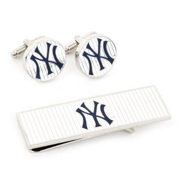 Yankees Pinstripe Cuff Link & Money Clip Set