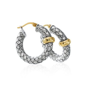 Two Tone Basket Weave Earrings