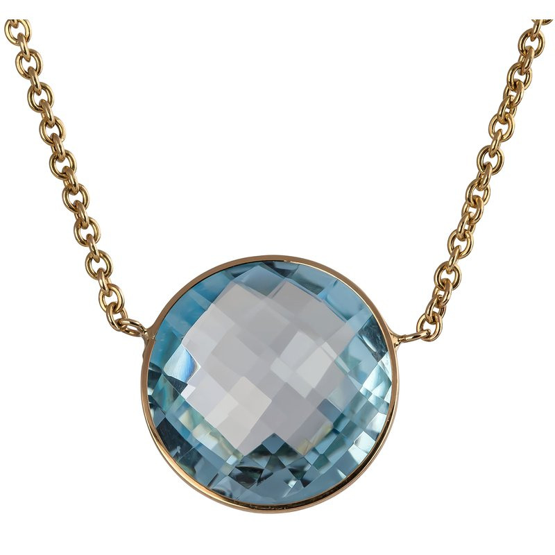 Large Blue Rose Cut Topaz Necklace