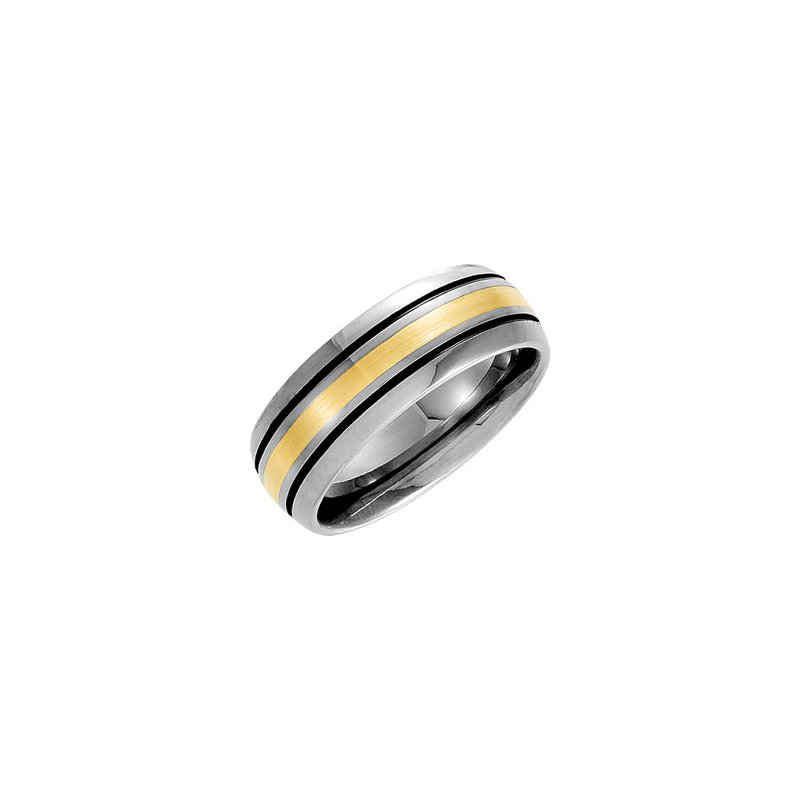 Tungsten and 14K Yellow Band