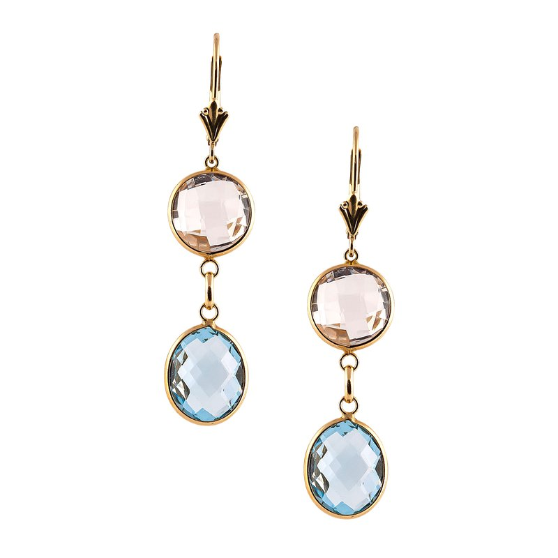 Blue and White Topaz Drop Earrings