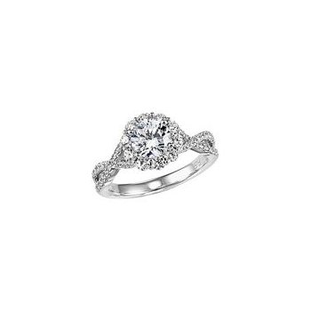 Twist Band Halo Diamond Engagement Ring